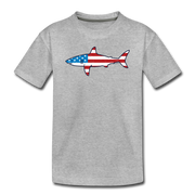 Stars and Stripes Shark T-Shirt Toddler T-Shirt - heather gray