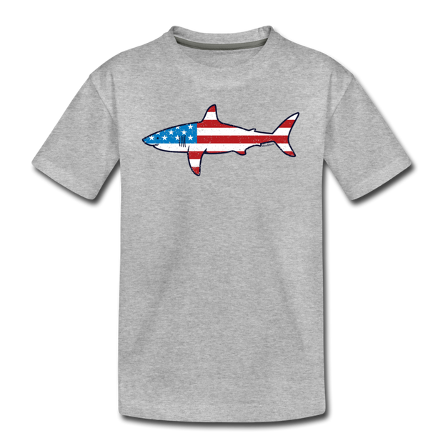 Stars and Stripes Shark Youth T-Shirt - heather gray