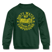 Dirty Water Campground Youth Sweatshirt - forest green