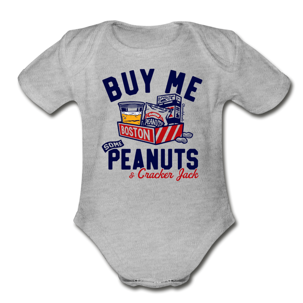 Buy Me Some Peanuts Infant One Piece - heather gray