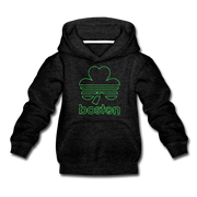 Boston Shamrock Neon Sign Youth Sweatshirt - charcoal gray