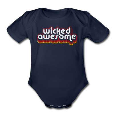 Wicked Awesome Retro Infant One Piece - dark navy