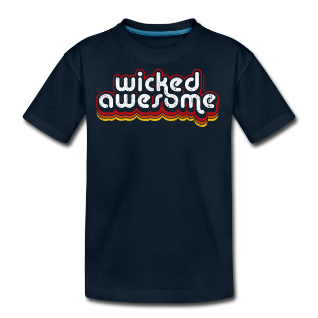 Wicked Awesome Retro Youth T-Shirt - deep navy