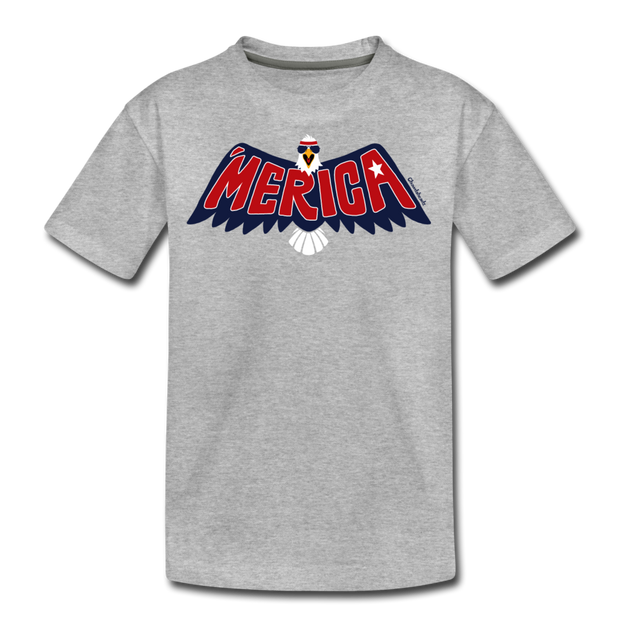 'Merica Eagle Youth T-Shirt - heather gray