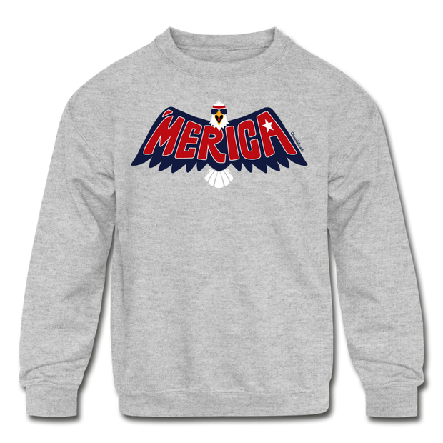 'Merica Eagle Youth Sweatshirt - heather gray
