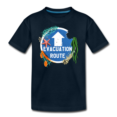 Evacuation Route Youth T-Shirt - deep navy