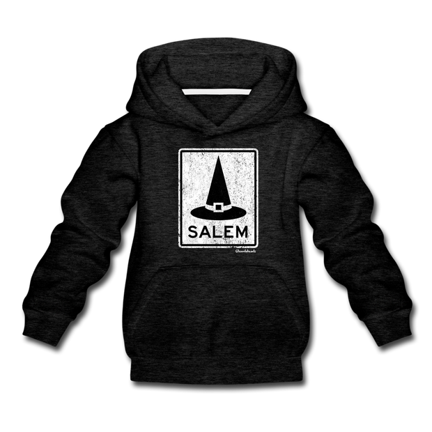 Salem MA Witch Hat Sign Youth Sweatshirt - charcoal gray