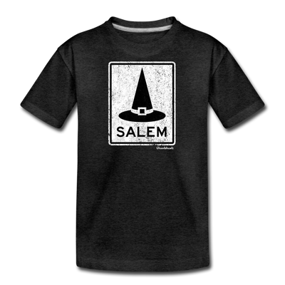 Salem MA Witch Hat Sign Youth T-Shirt - charcoal gray