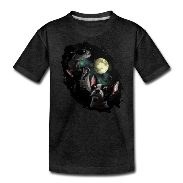 Three Terriers and Moon Youth T-shirt - charcoal gray