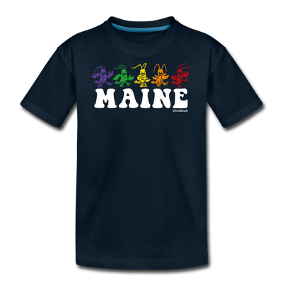 Maine Dancing Lobstahs Youth T-Shirt - deep navy