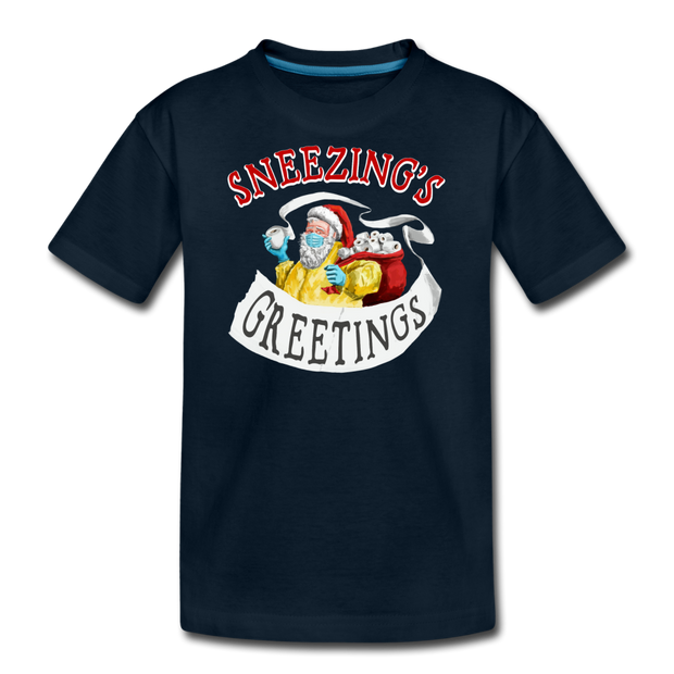 Sneezing's Greetings Youth T-shirt - deep navy