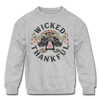 Wicked Thankful Youth Sweatshirt - heather gray