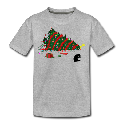 Christmas CATastrophe Youth T-Shirt - heather gray