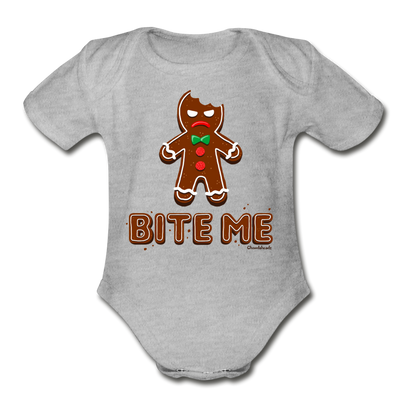 Bite Me Gingerbread Man Infant One Piece - heather gray