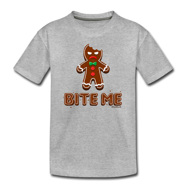 Bite Me Gingerbread Man Toddler T-Shirt - heather gray