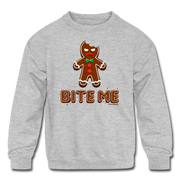Bite Me Gingerbread Man Youth Sweatshirt - heather gray