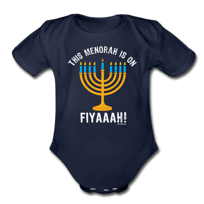 This Menorah Is On Fiyaaah Infant One Piece - dark navy