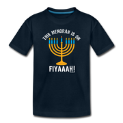This Menorah Is On Fiyaaah Toddler T-Shirt - deep navy
