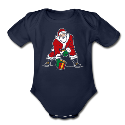 Three Point Stance Santa Infant One Piece - dark navy