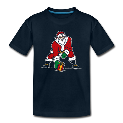 Three Point Stance Santa Youth T-Shirt - deep navy