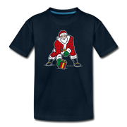 Three Point Stance Santa Toddler T-Shirt - deep navy