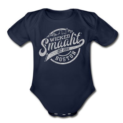 Wicked Smaaht Boston Skyline Infant One Piece - dark navy