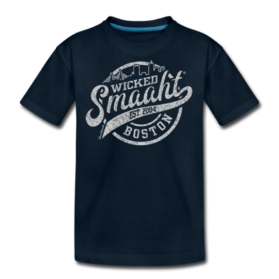 Wicked Smaaht Boston Skyline Youth T-Shirt - deep navy
