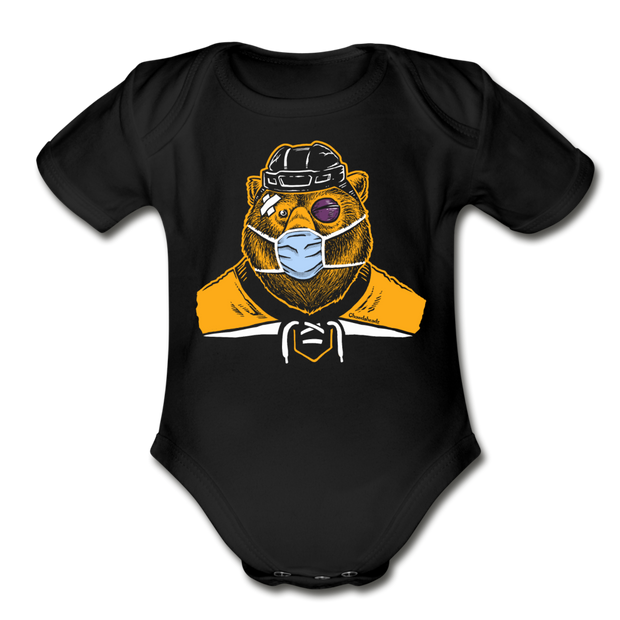 Hockey Mask Bear Infant One Piece - black