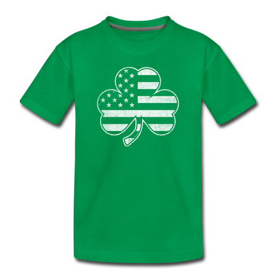 Shamrock Stars & Stripes Youth T-Shirt - kelly green