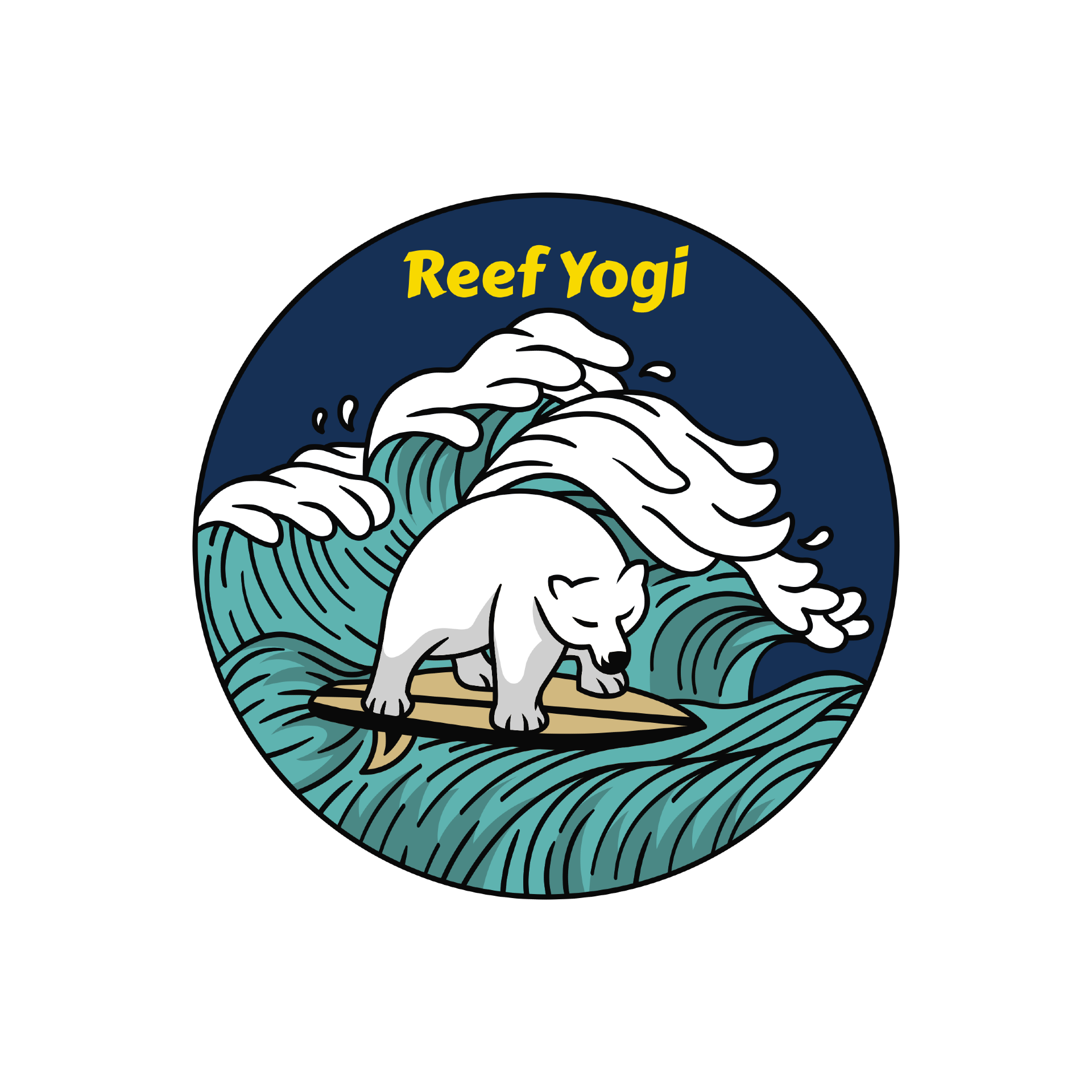 Reef Yogi Beach Clothing Logo of a white bear riding s surf board