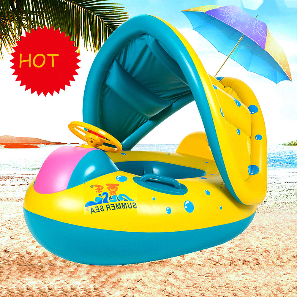 Baby Inflatable Swimming Tube Ring Seat Sunshade Boat for 3-6Y