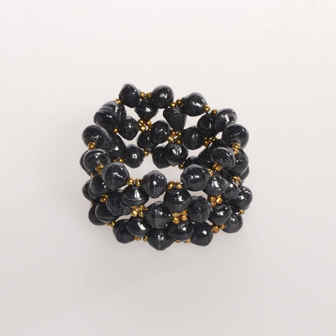 "Black Multi-Strand Bracelet, 1 3/4"" wide in support of African Reconciliation Ministries"