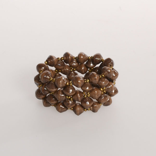 "Brown Multi-strand Bracelet 1 3/4"" Wide"