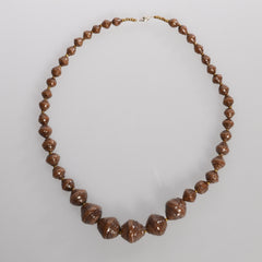 "Brown Graduated Single Strand 11"" Necklace"