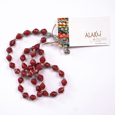 Dark Red Long Single Strand Necklace