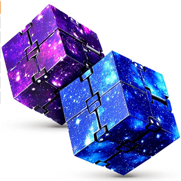 (H0120)INFINITY CUBE 2 Pieces Fidget Toy Fluorescent Stress Anxiety Relief for Adults and Kids Hand-Held Magic Puzzle Flip Cube Fidget Finger Toys Cube