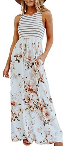 (M575)Simplee Women's Sleeveless Floral Printed Casual Maxi Dress Striped Summer Long Dress with Pockets