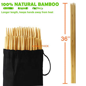 (K089)ANERNAI Marshmallow Roasting Bamboo Sticks 36 Inch 6mm Thick Extra Long Heavy Duty Wooden Skewers, Ideal for Skewers Hot Dog Forks