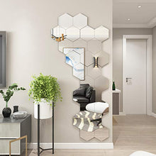 Load image into Gallery viewer, (J015)32 Pcs Acrylic Mirror Wall Stickers Decal Hexagon Mirror Tiles Decals Removable Acrylic Mirror Setting Self Adhesive Tiles for Home Bedroom Wall ...