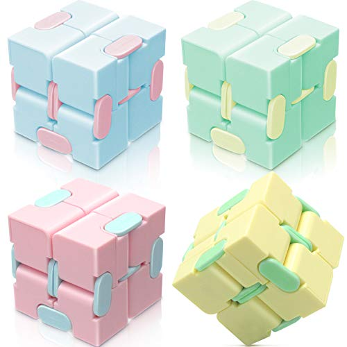 (H0123)heruo Infinity Cube Fidget Cube Toy Stress Relief for Adults and Kids - 4 Pieces Magic Puzzle Flip Cube for ADD, ADHD, Anxiety Relief and Killing Time