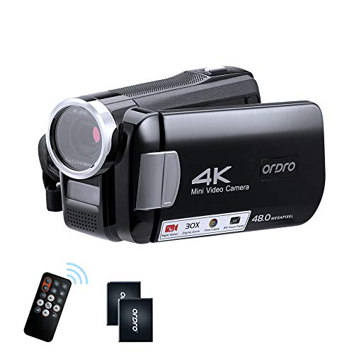 (J162)ORDRO 4K Camcorder Video Camera Mini DV Camera Recorder IR Night Vision Camera Full HD 1080P 60FPS 3.0 Inch IPS Touch Screen YouTube ...