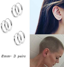 Load image into Gallery viewer, (Q716)Silver Hoop Earrings- Cartilage Earring Endless Small Hoop Earrings Set for Women Men Girls,3 Pairs of Hypoallergenic 925 Sterling Silver Tragus Earrings Nose Lip Rings