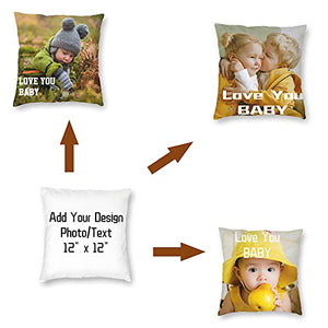 (C9095)UKSN Custom Pillow Covers, Personalized Photo Pillow Covers Name Pillowcase, Decorated Pillows for Sofas/Bed/Chair, Cute Mini Pillowcases for Kids/Baby...