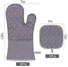 Load image into Gallery viewer, (F134)Jaweke Oven Mitts and Pot Holders 4Pcs Set, Extra Long 500℉ Heat Resistant Oven Gloves with Cotton Lining, Non-Slip Silicone Surface