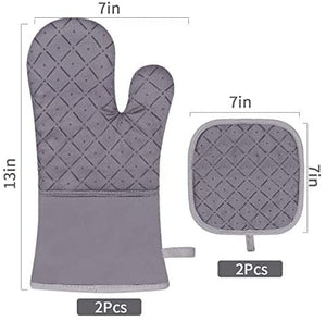 (F134)Jaweke Oven Mitts and Pot Holders 4Pcs Set, Extra Long 500℉ Heat Resistant Oven Gloves with Cotton Lining, Non-Slip Silicone Surface