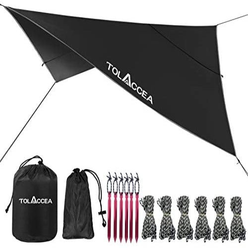 (K970) Tolaccea Camping Tarp UPF 50+, 3000mm Waterproof Hammock Rain Fly, 10 x 10 ft Sunshade, Multifunctional Shelter Canopy, Picnic Mat or Rain Cover for Outdoor Furniture(Black)