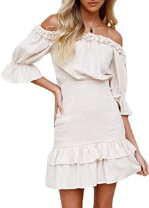 (M560) Amegoya Women's Summer Off Shoulder Ruffle Half Sleeve Cotton Beach Mini Dress