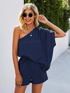 (Y554)Simplee Women's Summer Off Shoulder Romper Elastic Waist Casual Loose Jumpsuits with Pockets