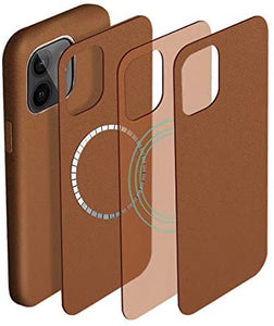 (C045)PU Leather Magnetic Phone Case Compatible with iPhone 12 Shockproof Protective Back Cover Designed for iPhone 12 Pro (6.1 inch) (Brown)