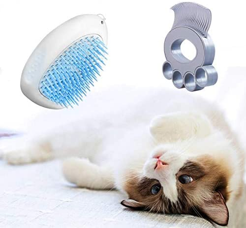 (F153)MOMIKA Cat Brush and Dog Brush, Pet Brush for Shedding Grooming, with Extra Cat Comb, Slicker Dog Brush for Short/Long Hair with Self Remove Button